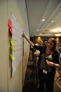 Tobacco Summit group members perform an organizational activity.